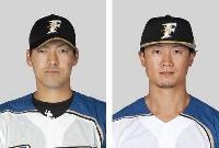 日本ハムの有原航平投手(左)、西川遥輝外野手