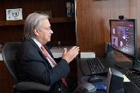 25日、共同通信の単独オンライン会見に応じる国連のグテレス事務総長(国連提供、共同)