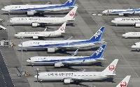 羽田空港の駐機場に並ぶ全日空機と日航機=2020年10月
