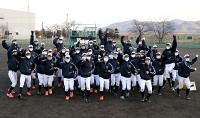 初の選抜高校野球大会出場が決まり、喜ぶ上田西高校の野球部員=29日午後4時21分、上田市