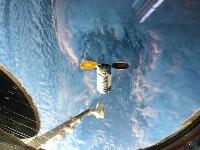 国際宇宙ステーションに向かう米国の無人補給機「シグナス」(野口聡一さんのツイッターより)
