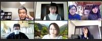 オンライン形式のパネル討論に参加する日本語交流員ら=24日