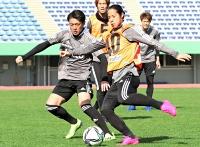開幕戦に向けた練習で前(右)と競り合う田中隼