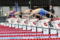 東京パラリンピックに向けた競泳のテスト大会でスタートする(手前から)富田宇宙、木村敬一ら=26日、東京アクアティクスセンター