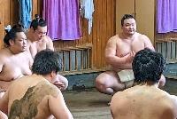 夏場所に向けた稽古をする朝乃山(奥右)=27日、東京都墨田区の高砂部屋(日本相撲協会提供)