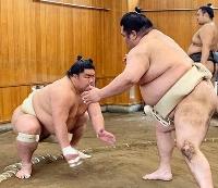 夏場所に向け、稽古する大栄翔(左)=埼玉県草加市の追手風部屋(日本相撲協会提供)
