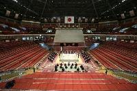 東京・両国国技館で行われた大相撲夏場所の土俵祭り=8日