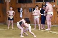 国体会場に隣接する屋内練習場で稽古に励む木曽少年相撲クラブの小学生ら