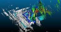 日本原子力研究開発機構が新たなシステムで作成した東京電力福島第1原発の排気筒の立体的画像。汚染状況が色分けされ、赤が最も高い(同機構提供)