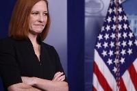 ホワイトハウスでの記者会見に出席したサキ米大統領報道官=14日、ワシントン(ロイター=共同)