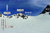 北アルプス槍ケ岳で3日に発生した遭難で3人が見つかった場所=12日午前6時41分、長野県側から