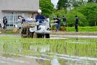 東京電力福島第1原発事故後初めて福島県双葉町で行われた田植え=19日午前