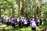 本宮一のモミの木に祝詞を上げ、こうべを垂れる氏子たち(写真は諏訪大社提供)