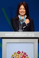 IOC総会で、東京のプレゼンテーションをする谷(旧姓佐藤)真海=2013年9月、ブエノスアイレス(ゲッティ=共同)