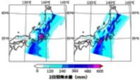 2019年10月11~12日の推定降水量(左)と県境部の山岳がなかった場合の推定降水量(県環境保全研究所提供)