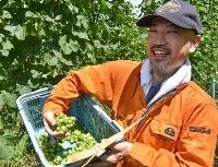 収穫したホップを手に笑顔を見せる岩田秀樹さん=22日、鳥取県伯耆町