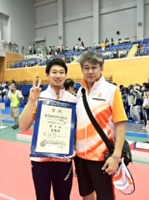 和歌山国体の少年男子で4位に入った西藤俊哉選手(左)と父の繁さん=2015年