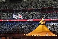 東京五輪の開会式で点火された聖火台=国立競技場