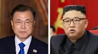韓国の文在寅大統領(UPI=共同)、北朝鮮の金正恩朝鮮労働党総書記(朝鮮中央通信=共同)