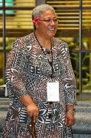 国際会議に出席するフィアメ・ナオミ・マタアファ氏=2013年4月、ニュージーランド首都ウェリントン(ゲッティ=共同)
