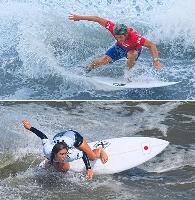 新競技サーフィンの男子で銀メダルを獲得した五十嵐カノア(上)と銅メダルの都筑有夢路=釣ケ崎海岸サーフィンビーチ