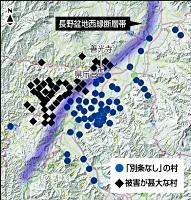 松代藩の史料を基に、被害が甚大な村と「別条なし」の村の位置を地理院地図に落とした図(原田さん作成。断層帯などを付け加えた)