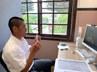 オンライン形式での組み合わせ抽選に臨んだ松商学園・藤石主将(松商学園提供)