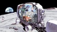 月面を移動する乗り物での食事のイメージ画((C)SPACE FOODSPHERE)