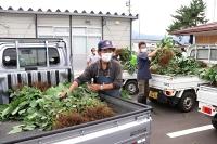 長野市長沼地区の住民に配る枝豆を載せた軽トラック