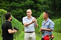 ブドウ畑で撮影するカユエラさん(中央)ら