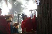 神木に薙鎌を打ち込む宮司。鎌の形は脱皮する姿から生命の再生を象徴する蛇を模していると伝わる=30日午前10時21分、小谷村