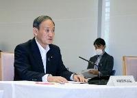 原子力防災会議であいさつする菅首相=7日午前、首相官邸