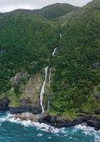 鹿児島県・奄美大島の東海岸で確認された九州最大級の滝(浜田太さん提供)