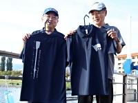 下諏訪町漕艇協会が作ったポロシャツ。オールなどをデザインした