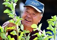 旧宅跡に植えたリンゴの苗木をなでて笑みを浮かべる小川さん=11日午後1時46分、長野市津野