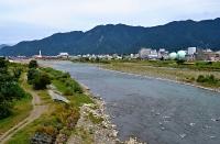 小松さんらが調査している信州大繊維学部近くの千曲川=上田市