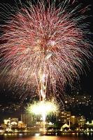 今夏の諏訪湖サマーナイト花火=7月25日
