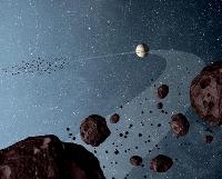 木星とほぼ同じ軌道にある小惑星群「木星トロヤ群」のイメージ(NASA提供)