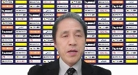 オンラインで就任記者会見に臨むハンドボール女子日本代表の楠本繁生新監督=18日
