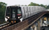 ワシントン地下鉄の川崎重工業が製造した車両「7000系」=ワシントン(共同)