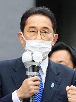 衆院選が公示され、有権者に支持を訴える自民党総裁の岸田文雄首相=19日午後、仙台市