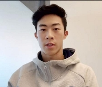 オンラインで記者会見したフィギュアスケート男子のネーサン・チェン=18日(共同)