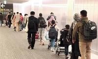 成田空港に到着したアフガニスタンからの退避者ら=19日夜
